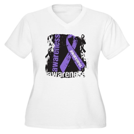 Grunge Hodgkin Lymphoma Women's Plus Size V-Neck T