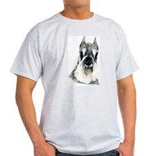 Schnauzer Dog Portrait Ash Grey T-Shirt