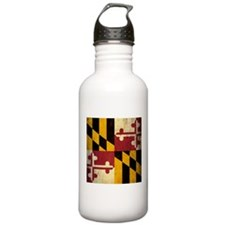 Grunge Maryland Flag Water Bottle