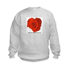 Red Heart Shaped Rose Kids Sweatshirt