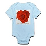 Red Heart Shaped Rose Infant Creeper