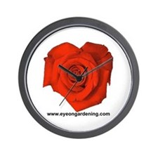 Red Heart Shaped Rose Wall Clock