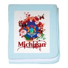 Butterflies Michigan baby blanket