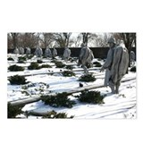 Korean war memorial veterans statues during snow P