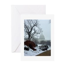US Capitol Building Snow Photo Greeting Card