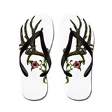 Mule deer,Skull in flowers Flip Flops