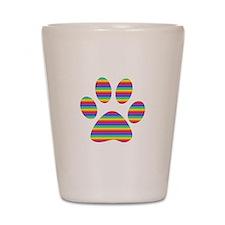 rainbow puppy paw print Shot Glass