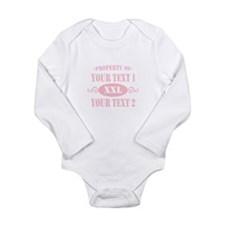 PROP YOUR TEXT PINK Long Sleeve Infant Bodysuit