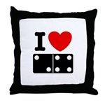 I Love Dominoes Throw Pillow