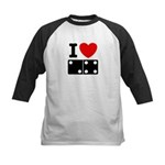 I Love Dominoes Kids Baseball Jersey