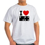 I Love Dominoes Ash Grey T-Shirt