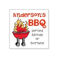 "Personalized BBQ Square Sticker 3"" x 3"""