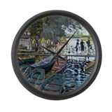 Monet Bathers at La Grenouillère Large Wall Clock