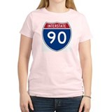 I-90 Interstate Hwy Women's Pink T-Shirt