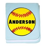 Personalized Softball baby blanket
