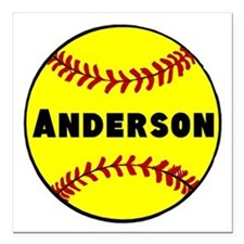"Personalized Softball Square Car Magnet 3"" x 3"""