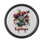 Butterfly Kansas Large Wall Clock