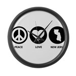Peace Love New Jersey Large Wall Clock
