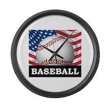 American Baseball Large Wall Clock