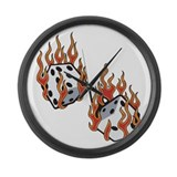 Flaming Dice Large Wall Clock