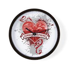 Heart German Shepherd Wall Clock
