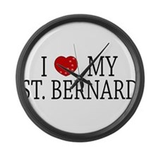 Love St. Bernard Large Wall Clock