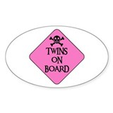 WARNING: TWINS ON BOARD Oval Decal
