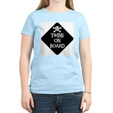WARNING: TWINS ON BOARD Women's Pink T-Shirt