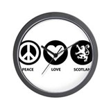 Peace Love Scotland Wall Clock