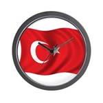Wavy Turkey Flag Wall Clock
