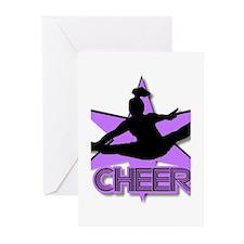 Cheerleader in purple Greeting Cards (Pk of 10)