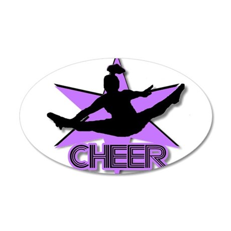 Cheerleader in purple 35x21 Oval Wall Decal