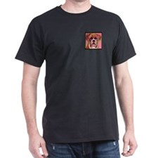 Boxer Dog Black T-Shirt w. Pocket Picture
