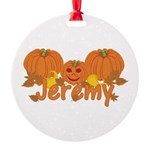 Halloween Pumpkin Jeremy Round Ornament