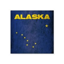 "Grunge Alaska Flag Square Sticker 3"" x 3"""