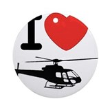 I Heart Helicopter Ornament (Round)