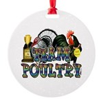 Team Poultry Round Ornament