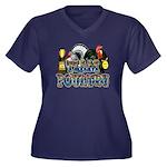 Team Poultry Women's Plus Size V-Neck Dark T-Shirt