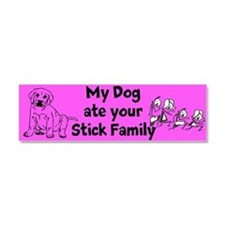 My Dog Ate Your Stick Family 3 Car Magnet
