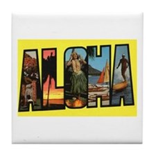 Hawaii Aloha Greetings Tile Coaster