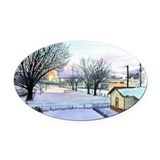 Backyard Ice rink Oval Car Magnet