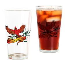 West Virginia Cardinal Drinking Glass