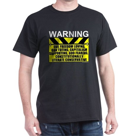 Evil Conservative Warning Black T-Shirt