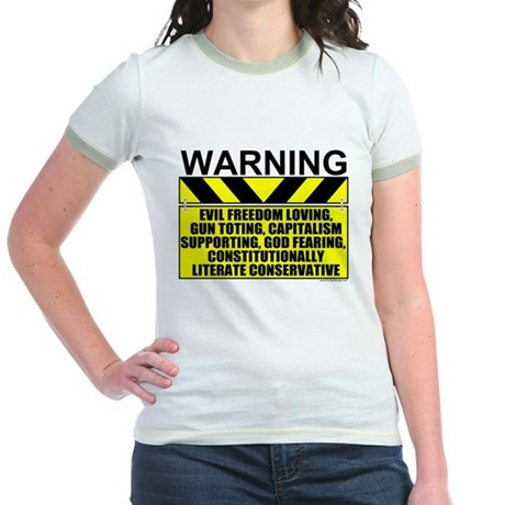 Evil Conservative Warning Jr. Ringer T-Shirt