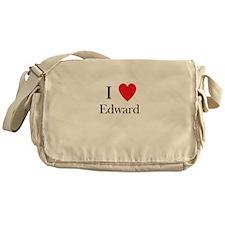 i love Edward heart Messenger Bag