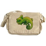 Purple Eyed Green Horned Chameleon Messenger Bag