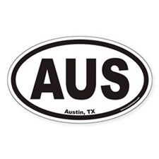 Austin Texas AUS Euro Oval Decal