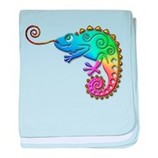 Cool Colored Chameleon baby blanket