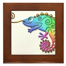 Cool Colored Chameleon Framed Tile