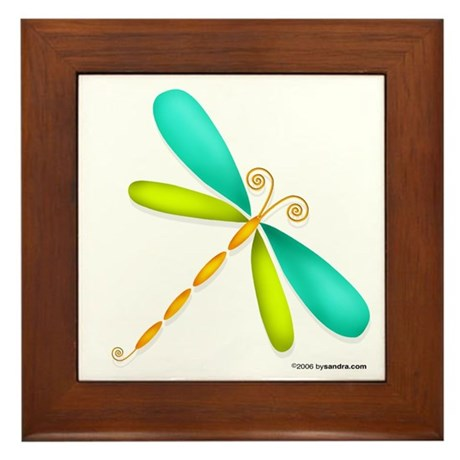 Colorful Dragonfly Framed Tile